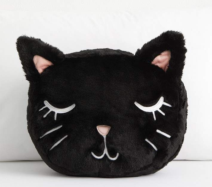 Pottery Barn Kids The Emily & Meritt Shaped Fur Kitty Pillow #sleepykitty