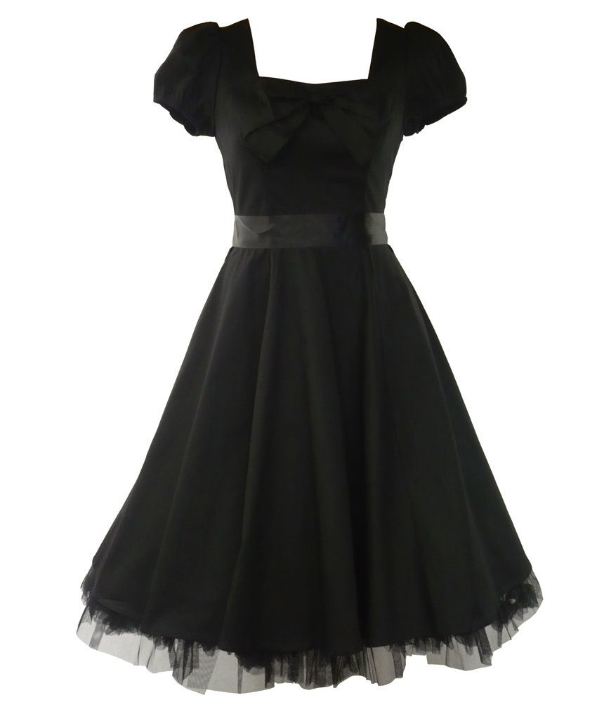 Hur london us vintage tea prom dress plain black s ud us uk
