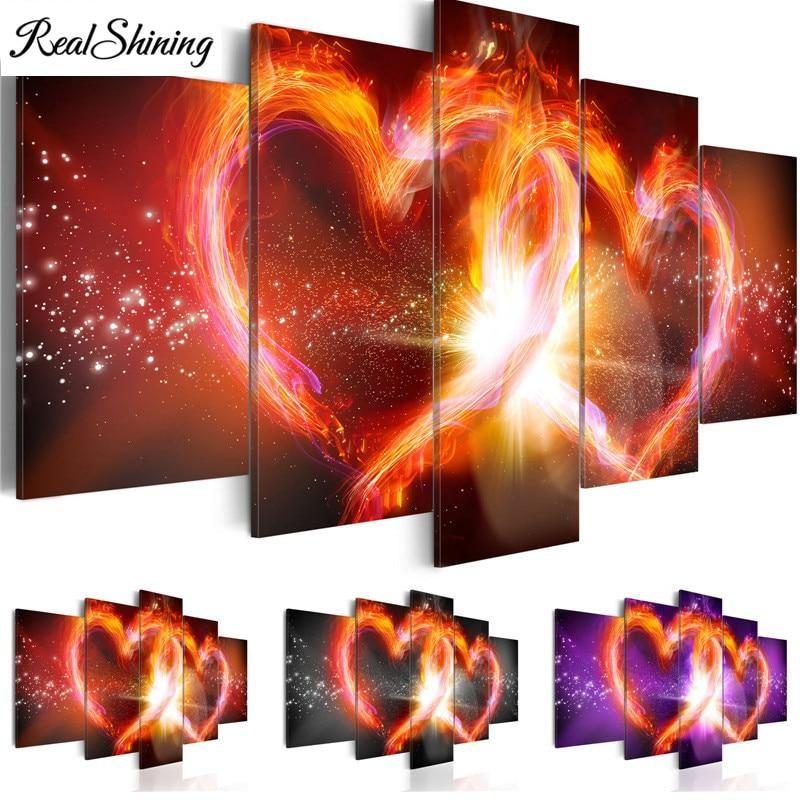 5D Diy Full Square Drill Diamond Painting Embroidery Heart-Shaped Stone Diamo B4
