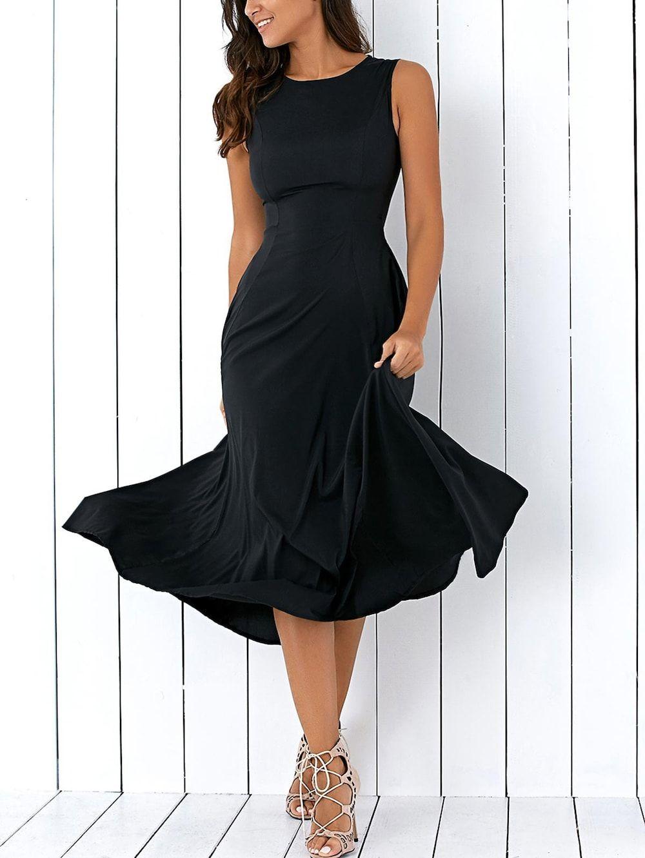 07ee74af10c Long A Line Sleeveless Semi Formal Plain Prom Dress - BLACK S ...
