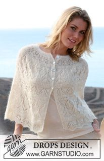 """free knitting pattern  DROPS short cape with lace pattern in """"Vivaldi"""" and """"Glitter"""". ~ DROPS Design"""