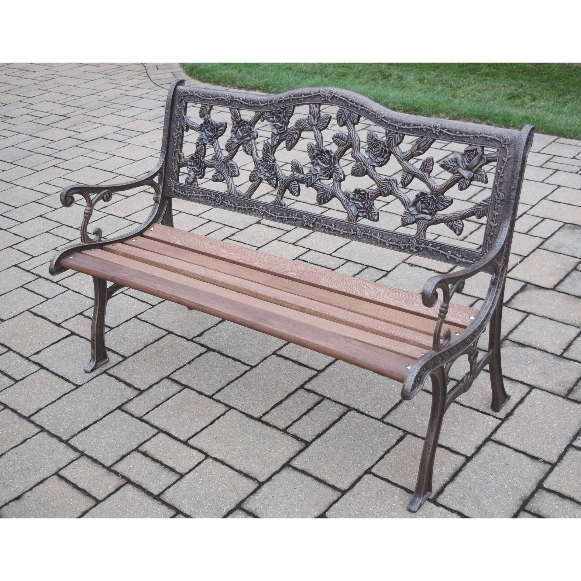 Oakland Living Corporation Wrought Iron English Rose Bench