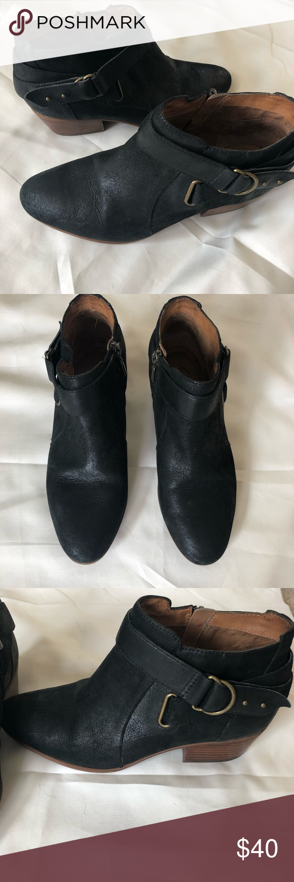 Clark's Indigo Black Booties Clark's Brand. Indigo design Black suede  material with brass detailing Leather uppers Made in China Size 8 Some  scuffing on ...