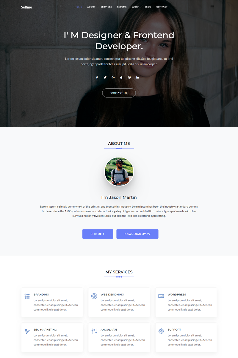Selfme Responsive Bootstrap 4 Personal Website Template Website Bootstrap Responsive Personal Website Templates Personal Website Design Website Template