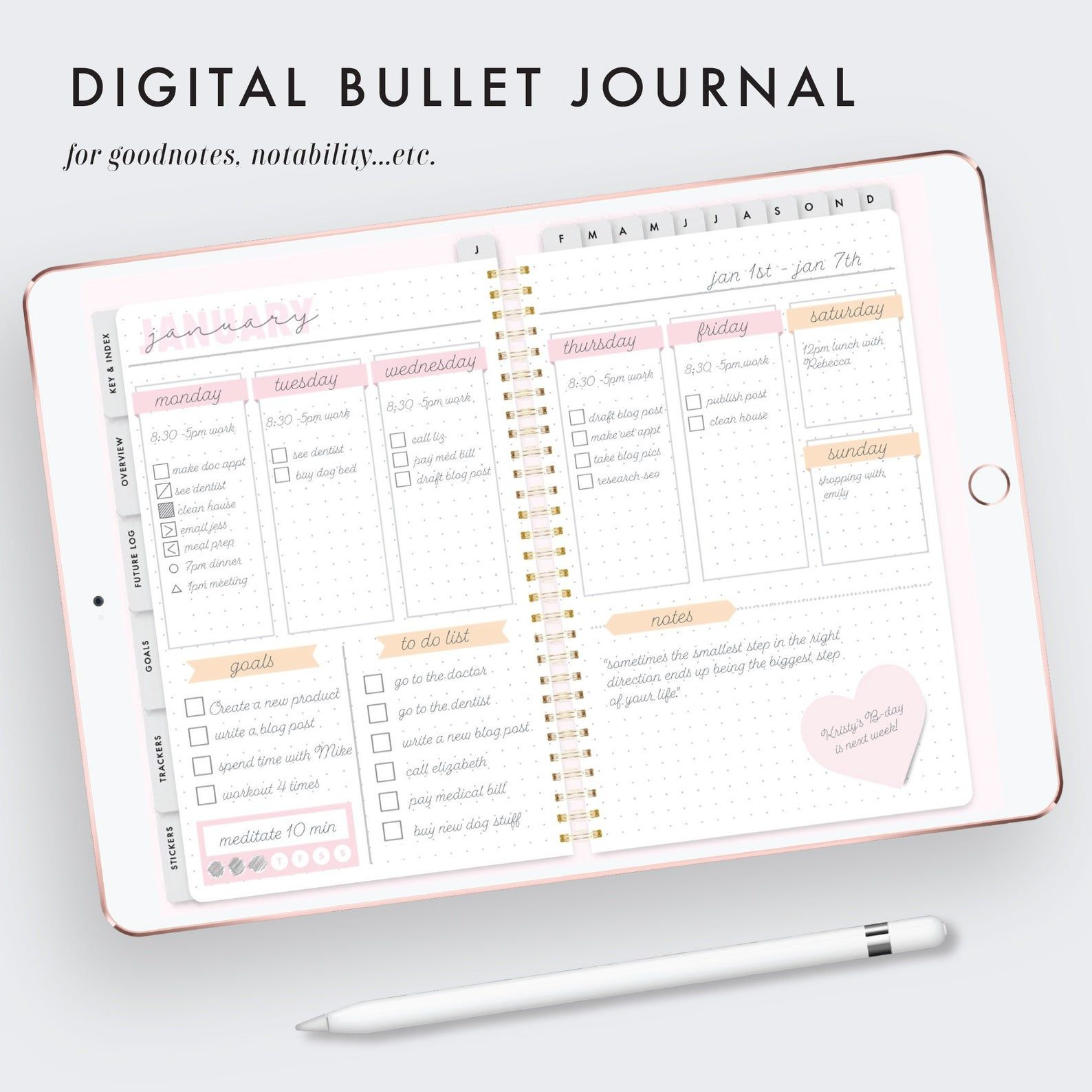 digital bullet journal, goodnotes template, goodnotes, digibujo, notability, digital agenda, digital stickers, goodnotes stickers, bujo
