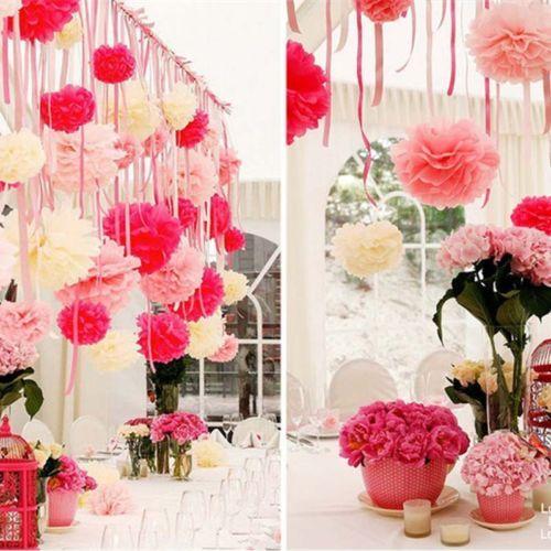 """6""""-14"""" Tissue Paper Pom Poms Flower Balls Wedding Birthday Party Decorations   eBay"""