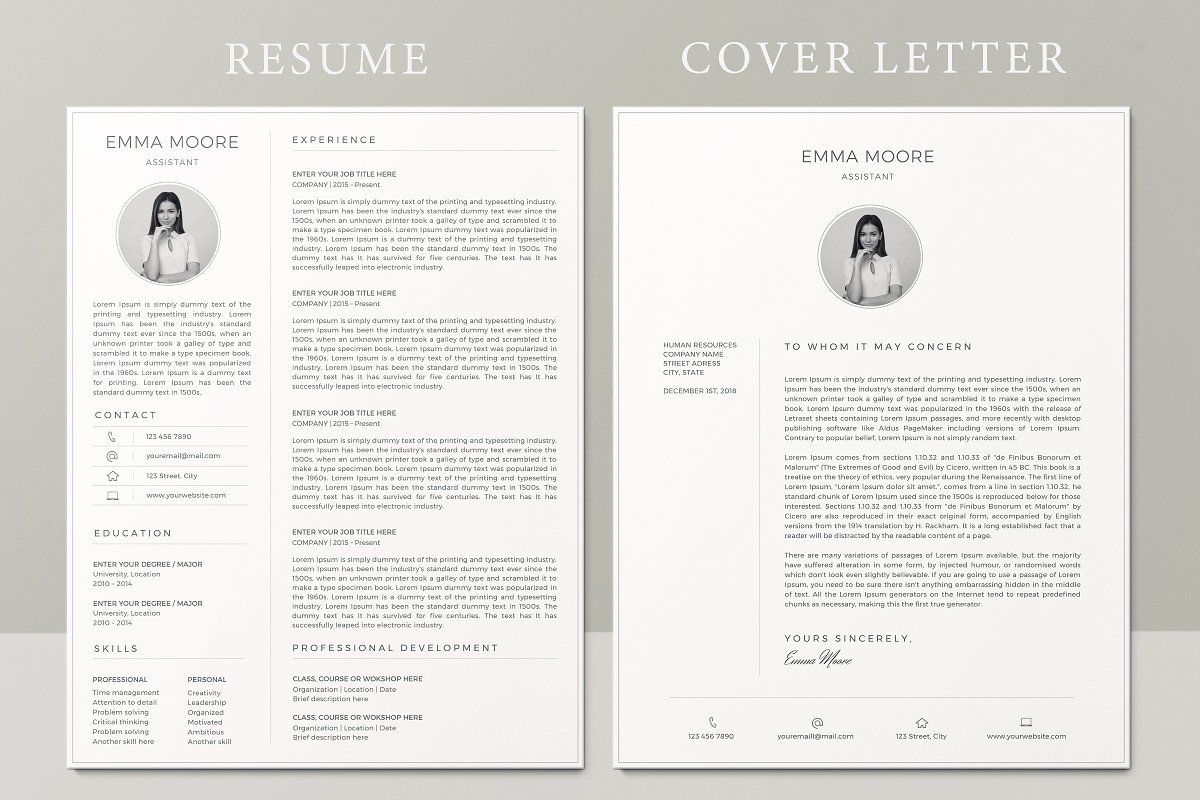 Resume Template / CV One page resume template, Creative