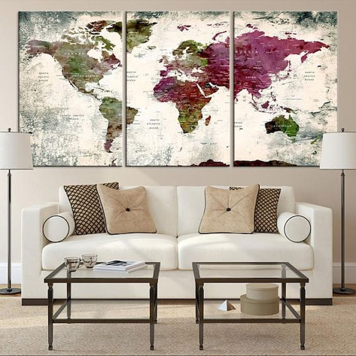 60 Most Elegant Wall Art Ideas For Living Room Makeover Elegant Ideas Living Livingroom Makeover Wa In 2020 Elegant Wall Art World Map Wall Art World Map Canvas