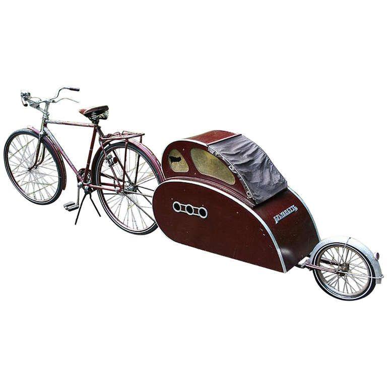 Art Deco Modernist Bike With Teardrop Trailer 1940s Teardrop