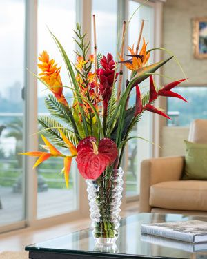 Tropical Ginger Heliconia Br Artificial Flower Arrangement