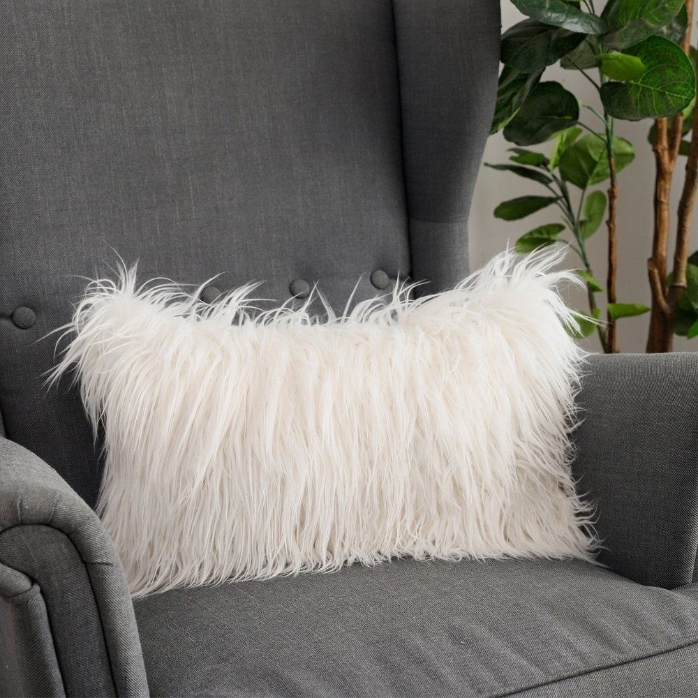 Marvelous Soft Couch Decorative Mongolian Fur Throw Pillow Covers Caraccident5 Cool Chair Designs And Ideas Caraccident5Info