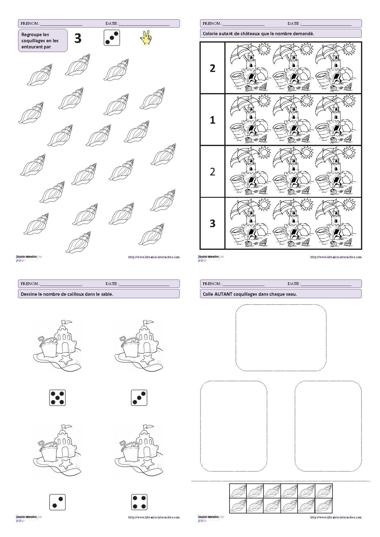 27 fiches d'exercices mathématiques pour la maternelle (PS