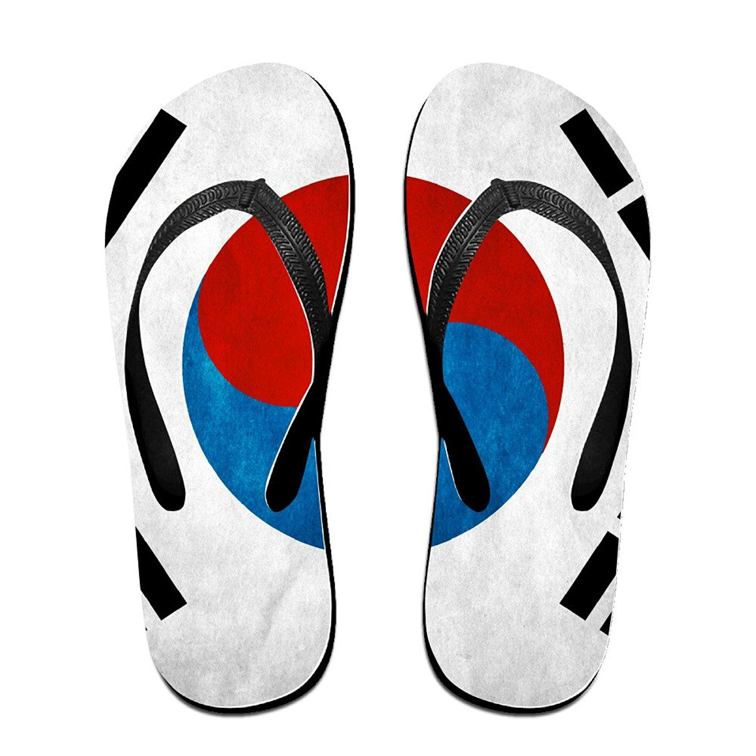 Lplpol Abstract Blue and White Custom Flip Flops