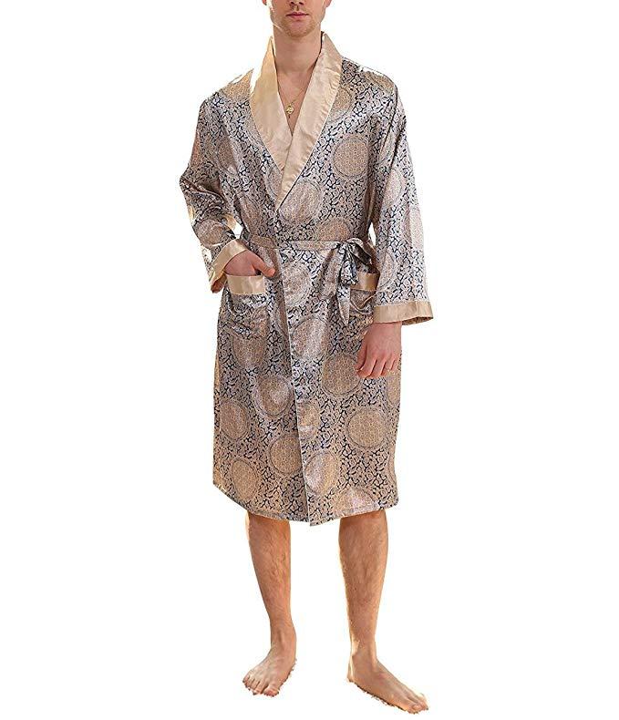 Mens Satin Plus Pajamas Kimono Robe Dressing Gown Loungewear Bathrobe Sleepwear Innovatis Suisse Ch