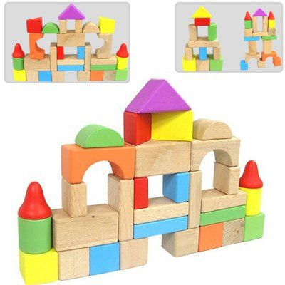Cubbie Lee 50 Pc Classic Wooden Building Blocks Set W/ Storage Bucket   For  3