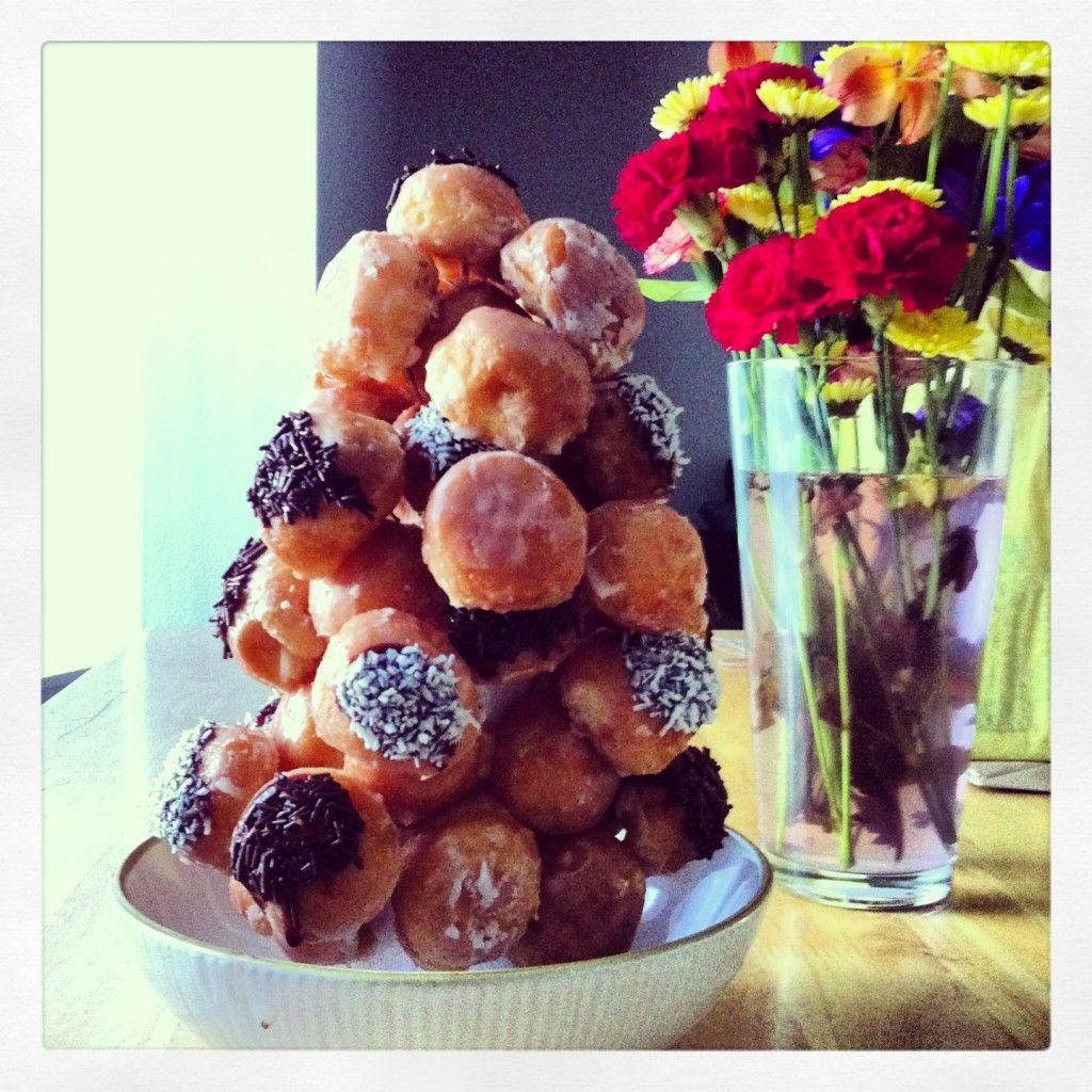 Donut hole birthday cake with images grandma cake