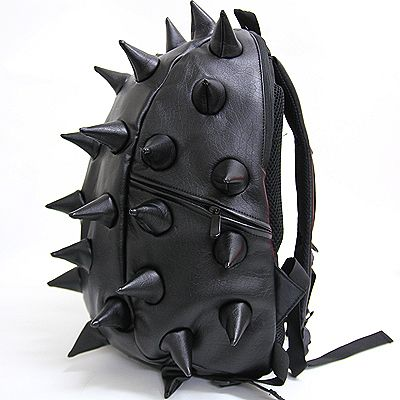 Black Red Spike Punk School Backpack / Mans