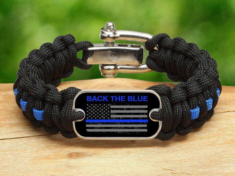 Bracelet Back The Blue Flag Survival Straps Paracord