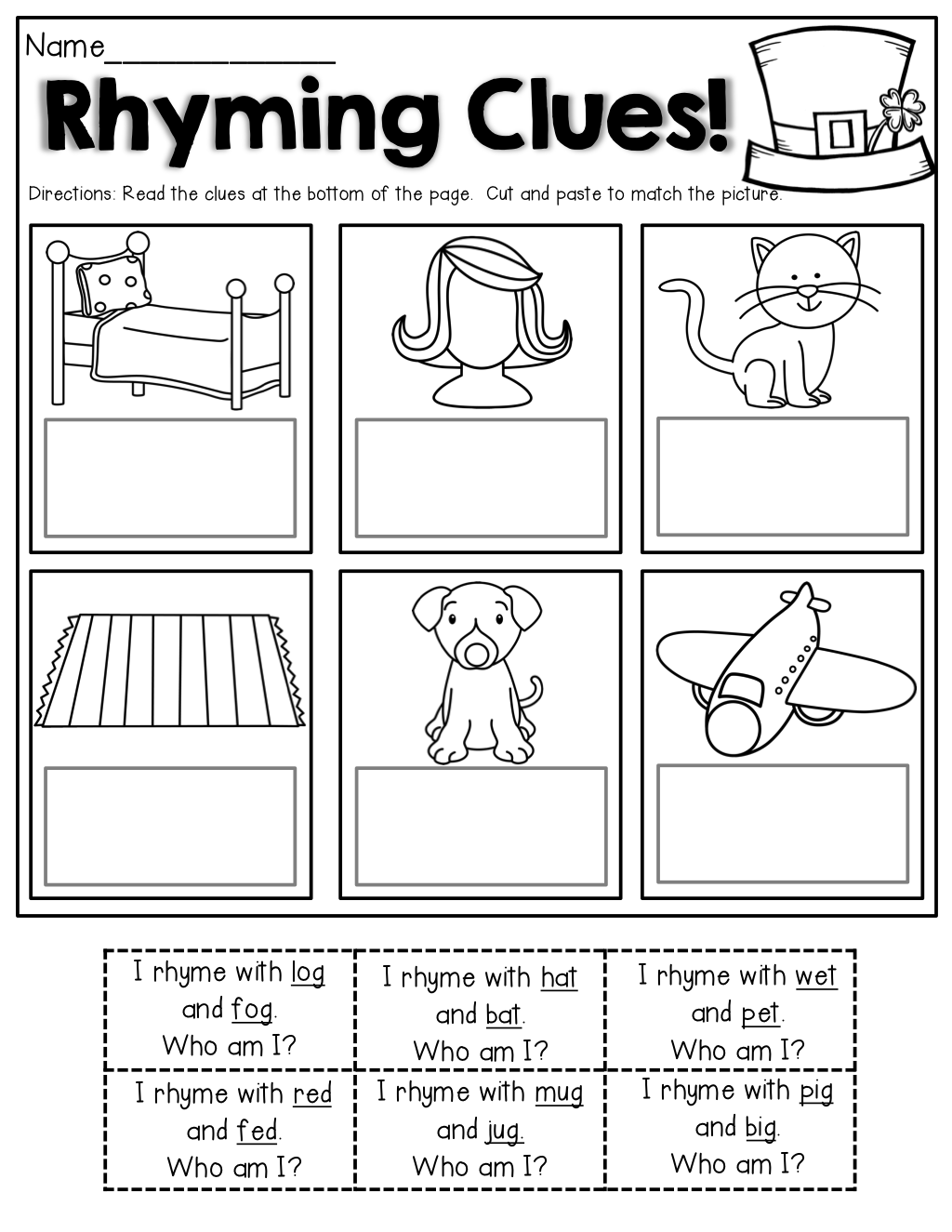 Rhyming Clues Read The Clues Cut And Paste To Match The Pictures Great For Beginning Readers
