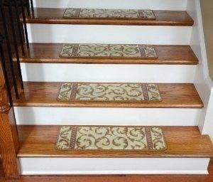 Best Dean Premium Carpet Stair Treads Vanilla Scrollwork Set 400 x 300