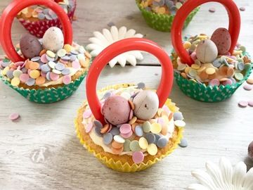 Children will love baking and decorating these imaginative easter children will love baking and decorating these imaginative easter basket cupcakes fill each basket with negle Gallery