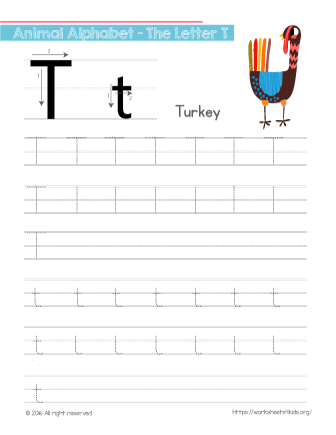 Tracing Letter T With Turkey Tracing Letter T Worksheet Will Help
