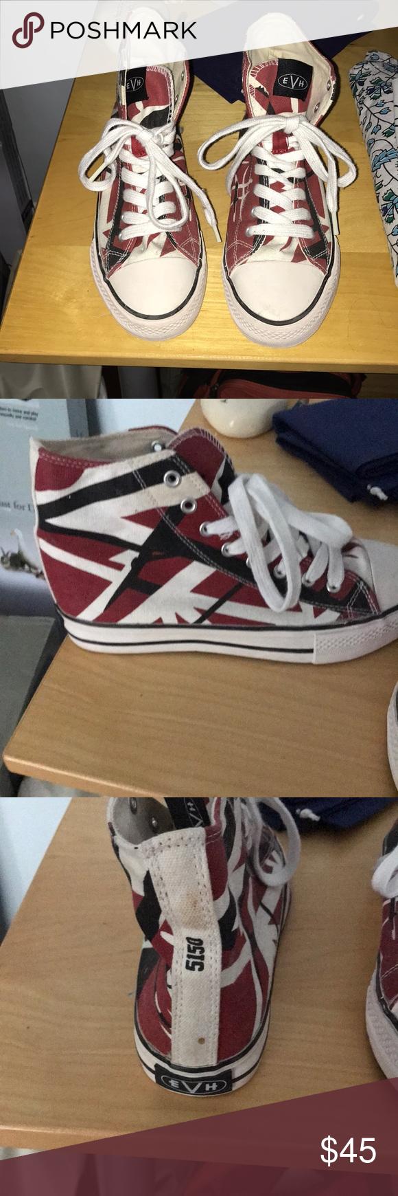 Eddie Van Halen Sneakers Special Edition 5150 Evh Sneakers Worn Only 2 3 Times Excellent Pair Of High Top Converse Great Edition Sneakers Van Halen Converse