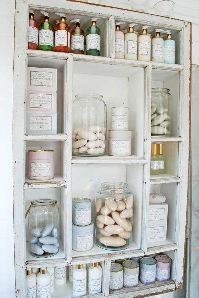 Pretty #shabby #white #window frame #shelf | Soaps | Pinterest ...