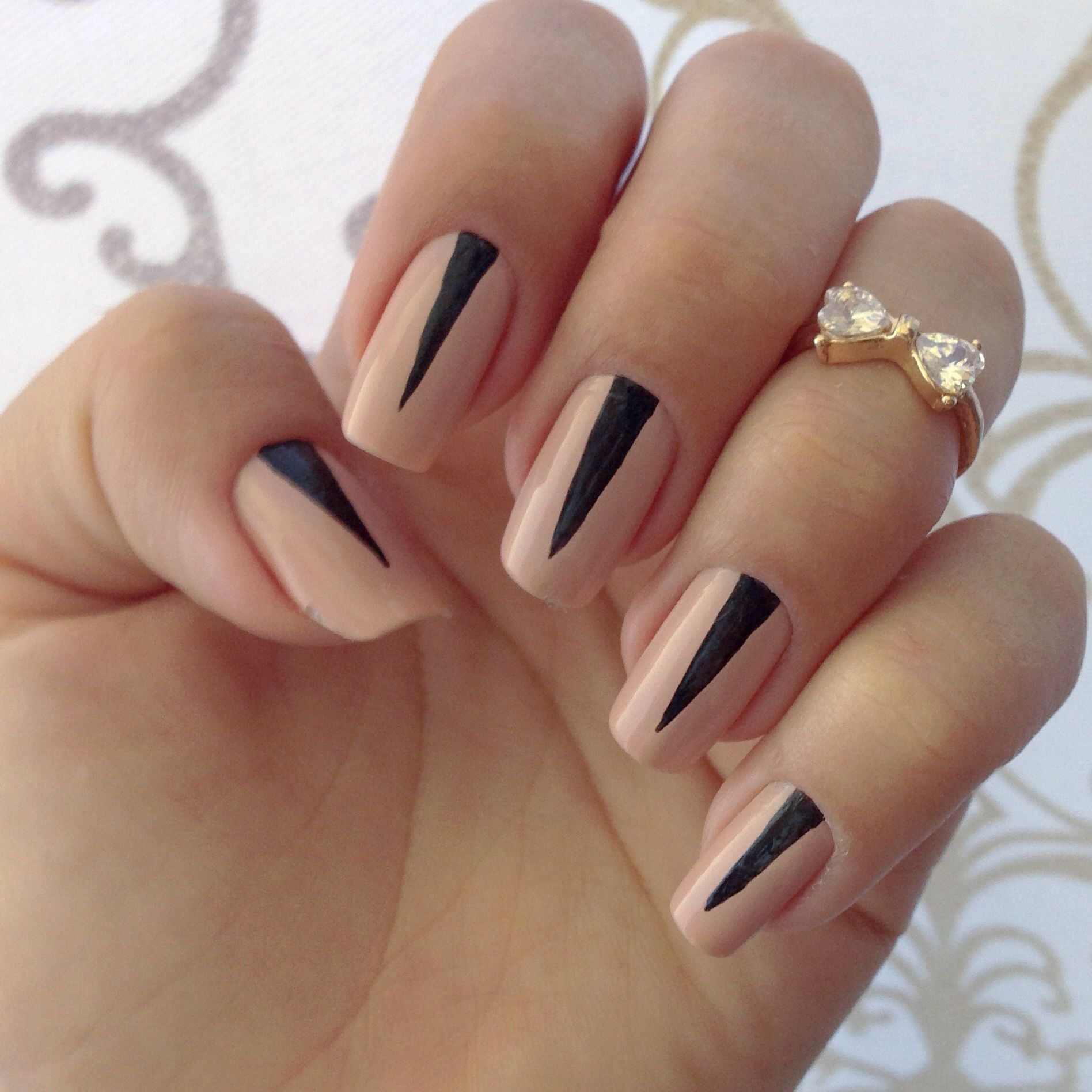 Black and Nude Nail design. #opi #essiestyle #manicure | Nail Art ...