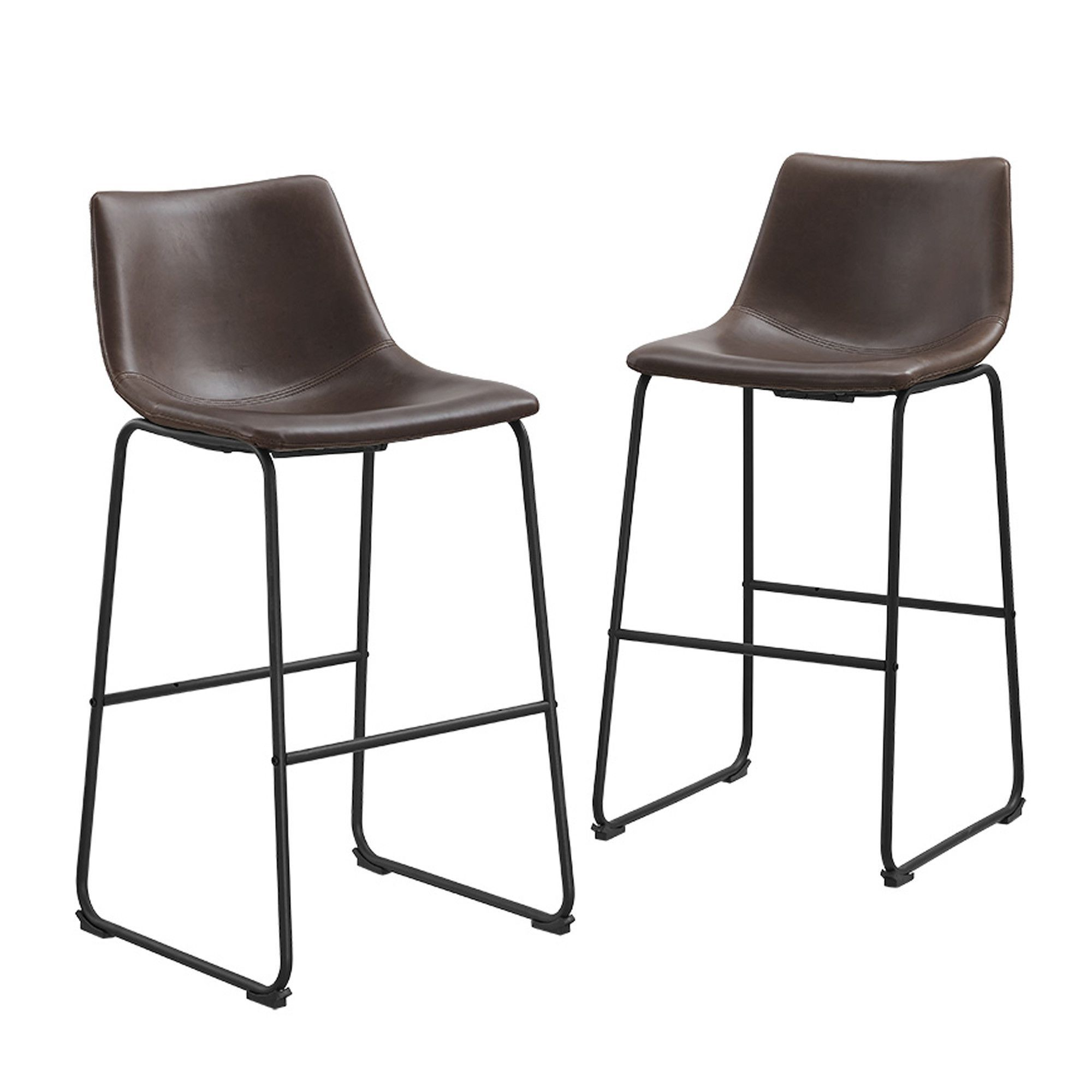 Brown Faux Leather Barstools, Set of 2