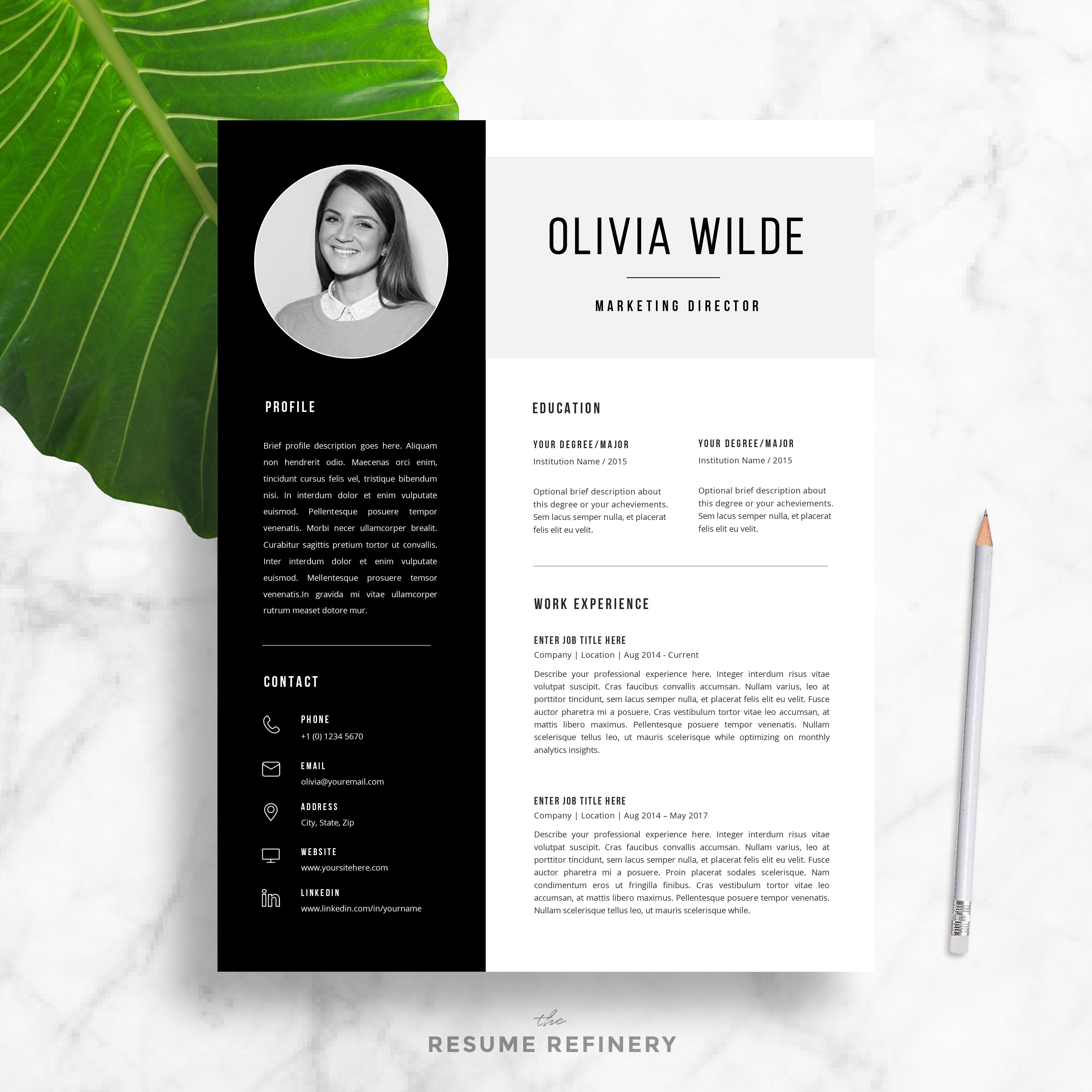Modern  Page Resume  Cover Letter Template For Word  Free