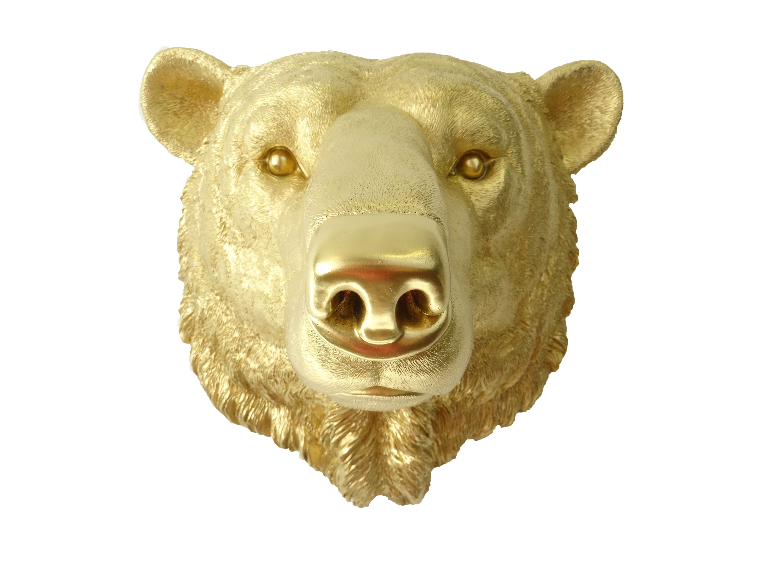 Faux Arctic Polar Bear Head Wall Mount // Gold | Polar bear, Wall ...