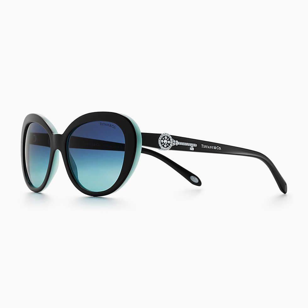 40305b93b391 Tiffany Aria concerto square sunglasses in black and Tiffany Blue acetate.