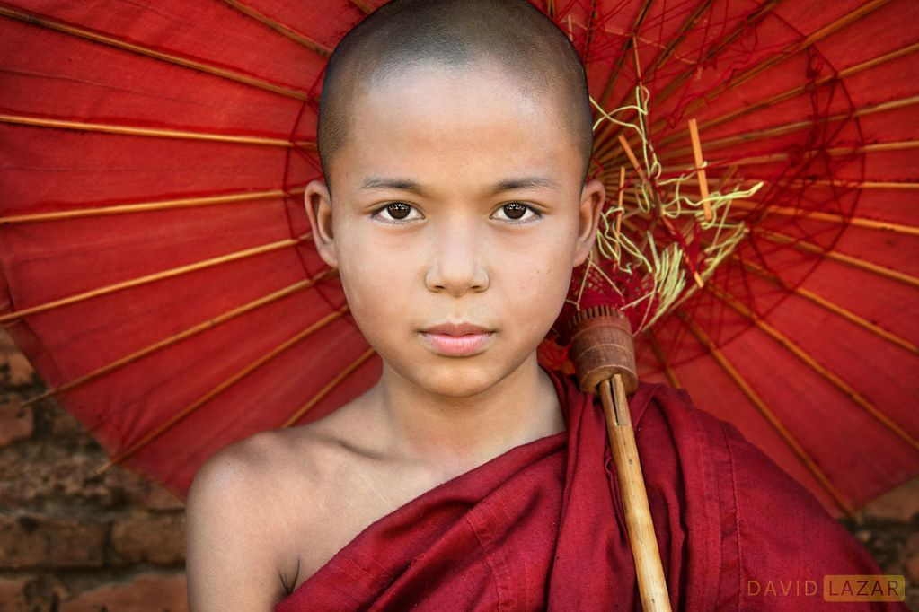 Novice Monk with Red Umbrella