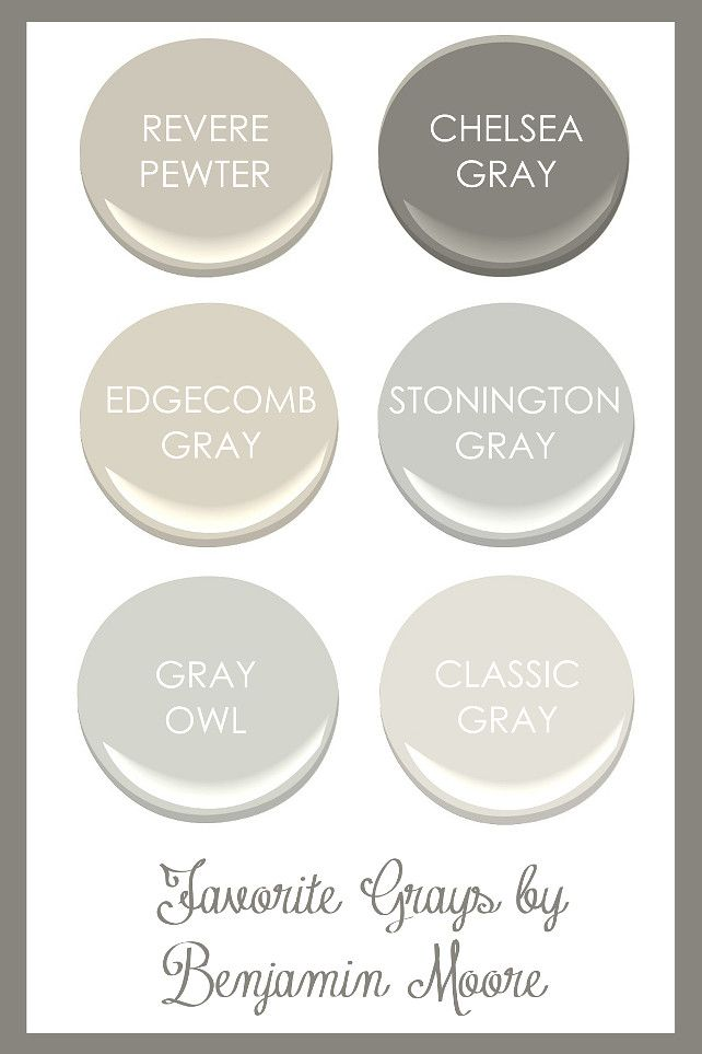 Favorite Grays By Benjamin Moore Revere Pewter Chelsea Gray Edgecomb Stonington