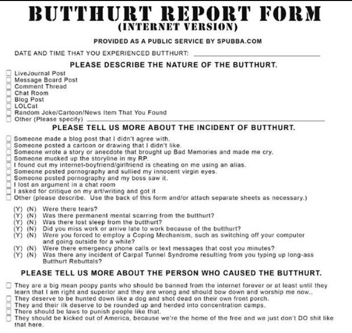 picture regarding Butthurt Report Form Printable identified as Pin upon Offers