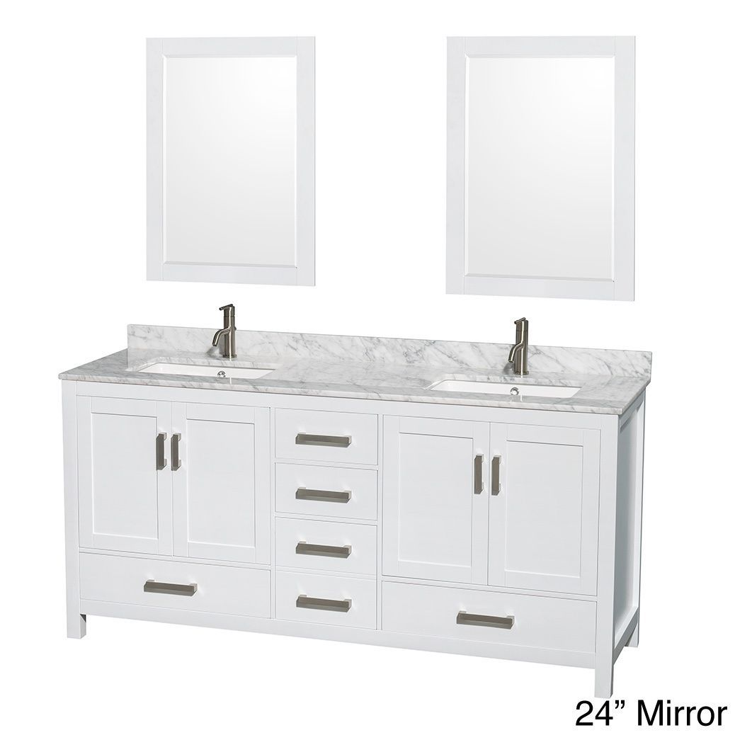 Sheffield White 72Inch Double Bathroom Vanity With Optional Enchanting 72 Inch Bathroom Vanity Double Sink Inspiration