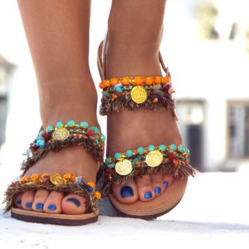 42045a2f1831f Earth Color Sandals, Greek Sandals,
