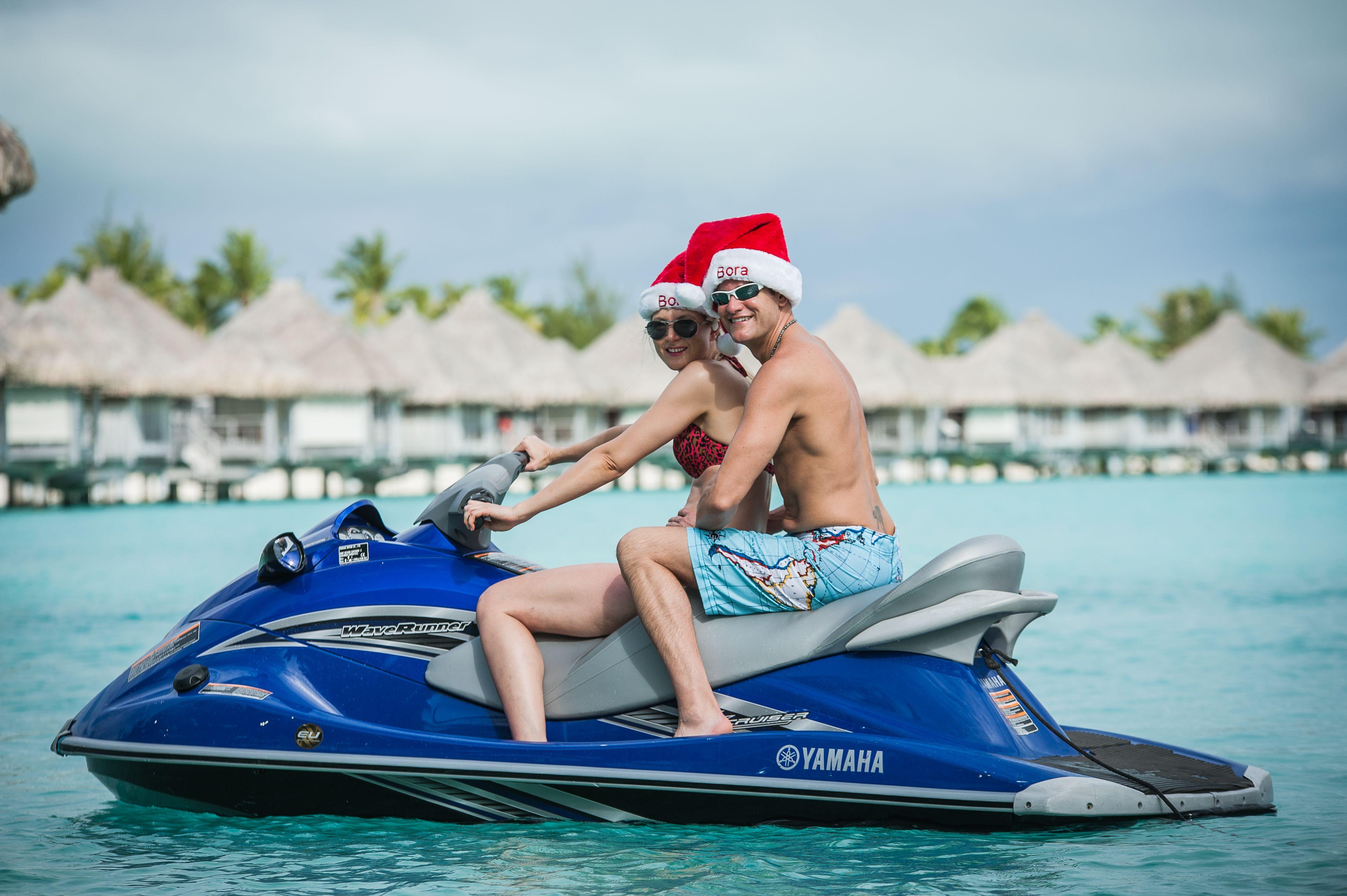 Christmas Jet Skiing In Bora Bora With Cassandra Sean Rox At The St Regis Bora Bora Resort Https Www Rox Bora Bora Resorts Bora Bora Bora Bora Honeymoon