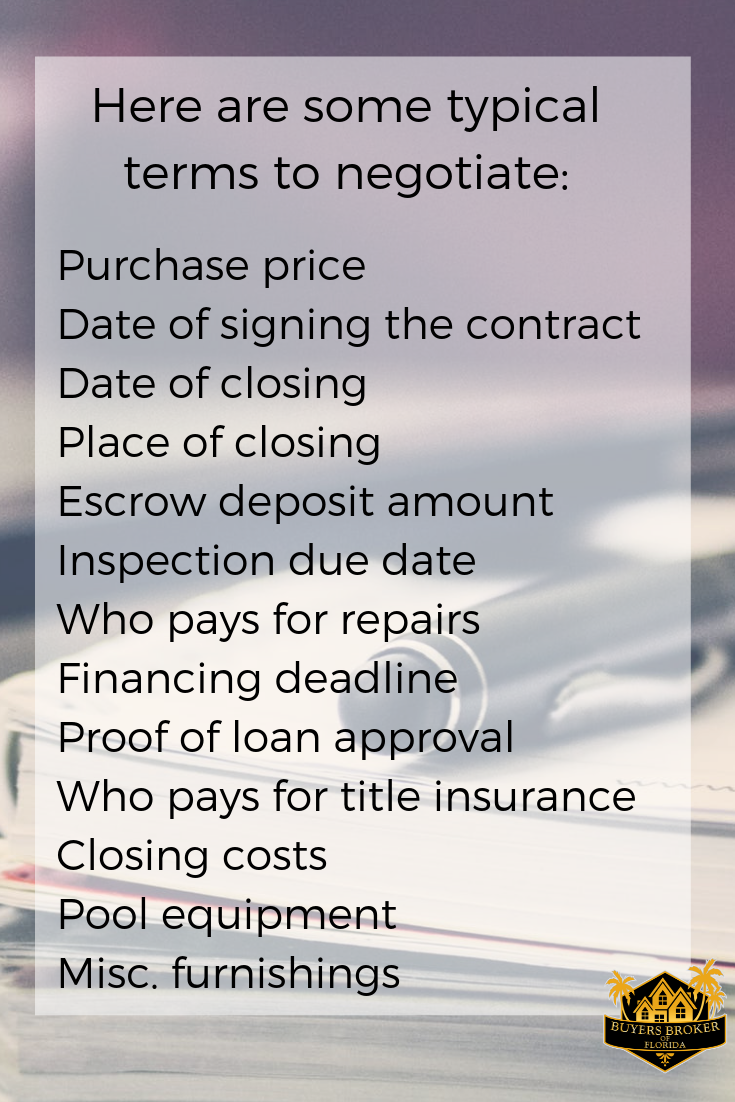 Here Are Some Typical Terms That Can Be Negotiated In The Purchase Contract Buyerbrokeragecontract Evealexander Contract Purchase Contract Title Insurance