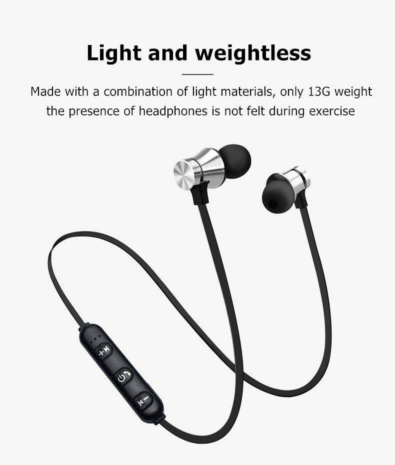 Magnetic Wireless Bluetooth Earphone Stereo Sports