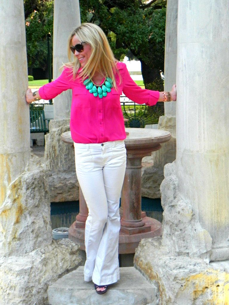 bright pink shirt + turquoise statement necklace + white flare jeans + wedges {Happily Grey}