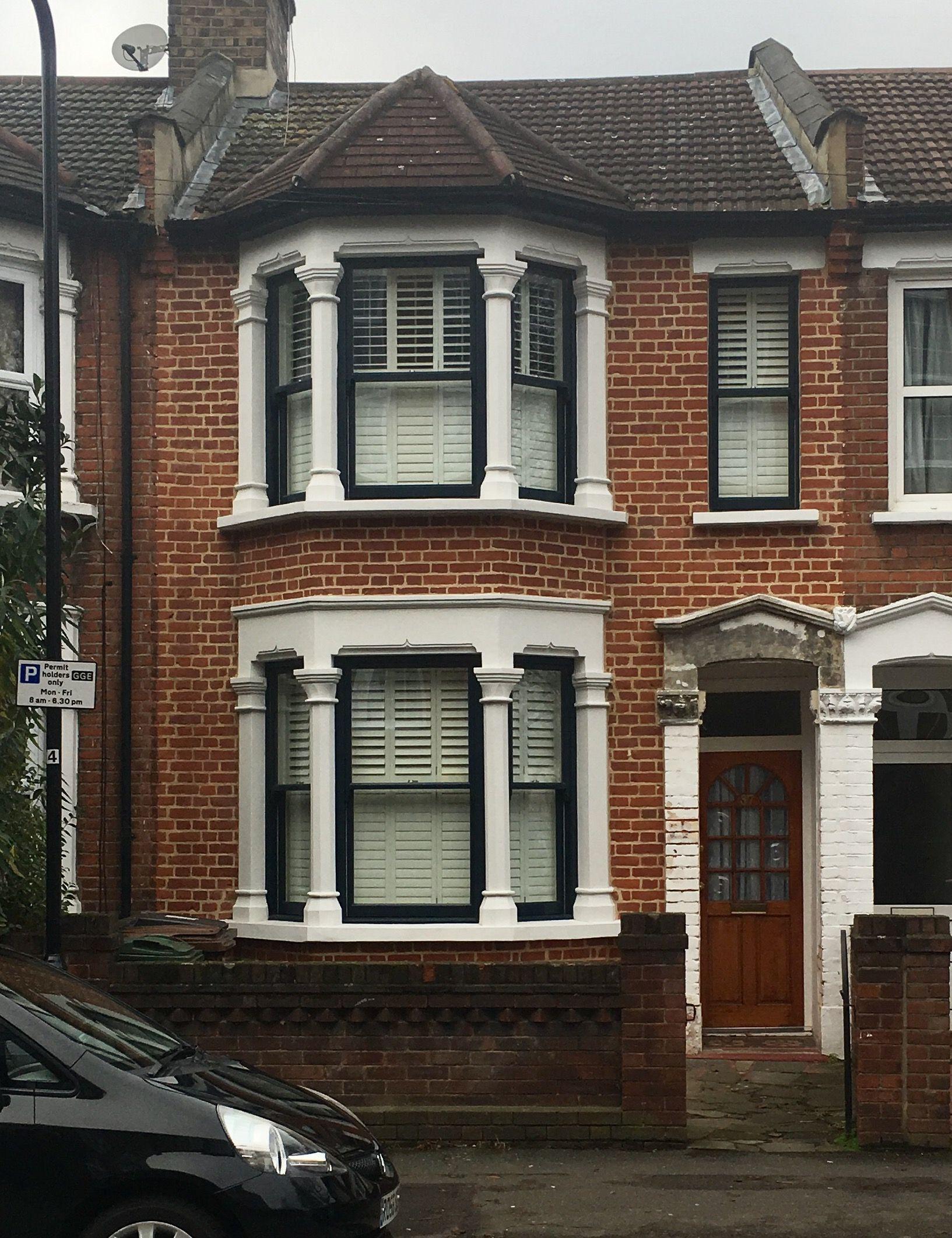 Dark black anthracite windows victorian edwardian terrace london black windows driveways victorian houses