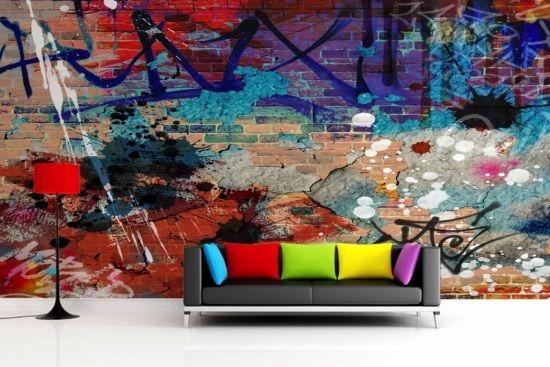 graffiti wanddekoration kunst stra e buntes sofa marcel. Black Bedroom Furniture Sets. Home Design Ideas