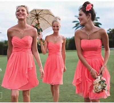 light coral pink bridesmaids dress.. Bahaha. Ok so the lightness ...
