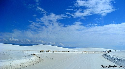 It LOOKS like a snowy landscape, but it's really desert! http://www.gypsynester.com/white-sands.htm  #travel #newmexico #nationalparks
