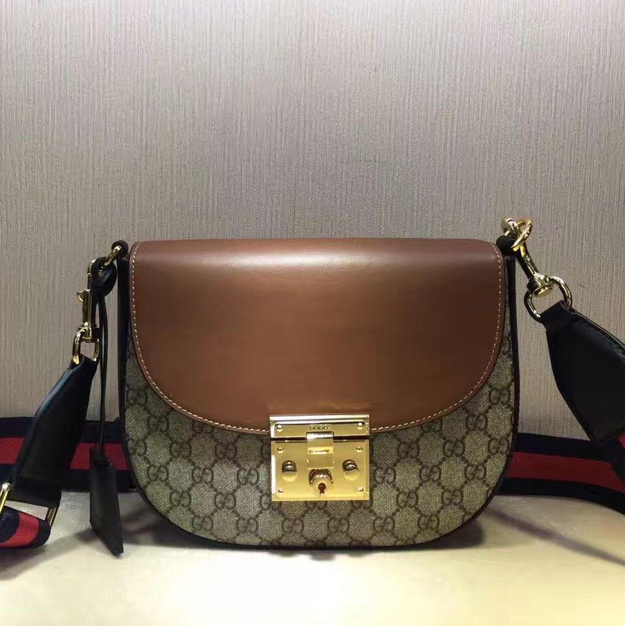 523d8c3fda0 Gucci Padlock GG Supreme Shoulder Medium Bag 453189 Brown 2016 ...