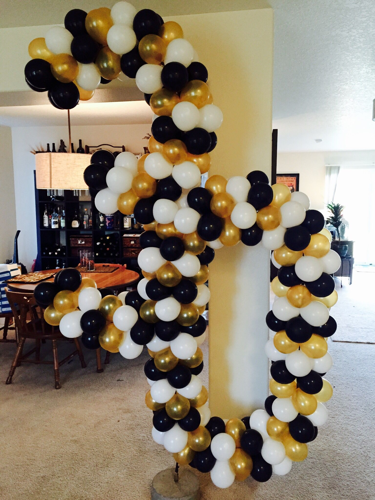 30th birthday balloons. Gold, black and white. 30th