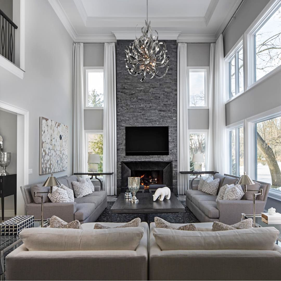 Grey Stone Fireplace Elegant Living Room Decor Luxury Li