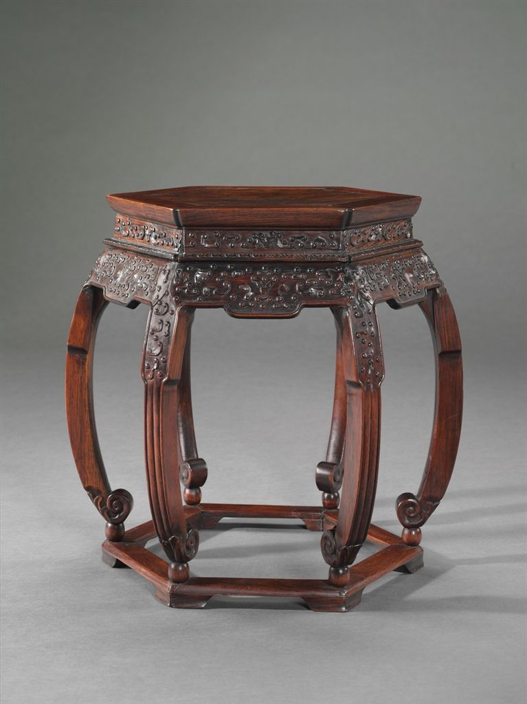 A Hexagonal Hongmu Stool 19th Century Antique Chinese